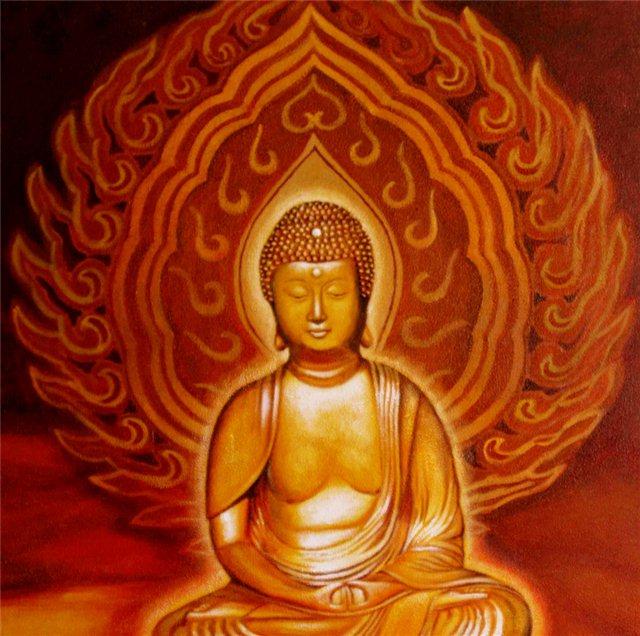"""Schilderij """"Vlammende buddha"""""""