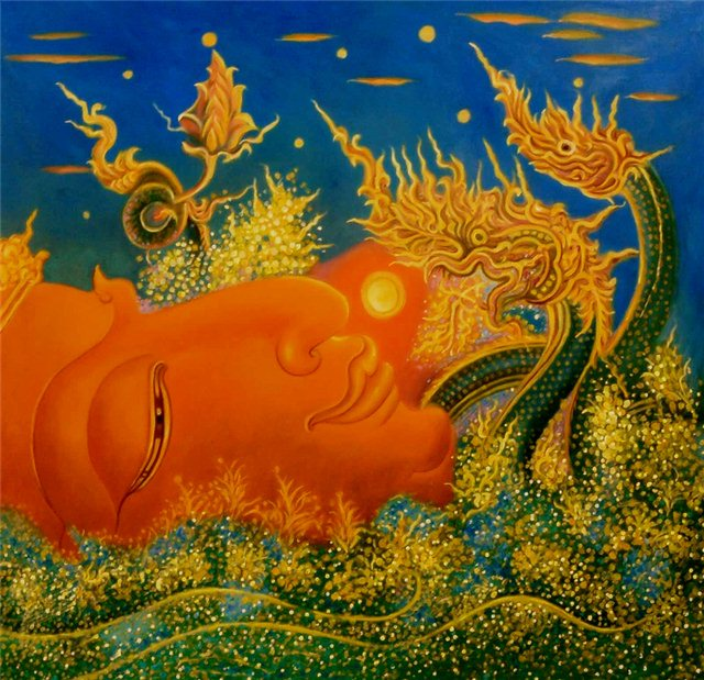 "Schilderij ""Dragon buddha"""