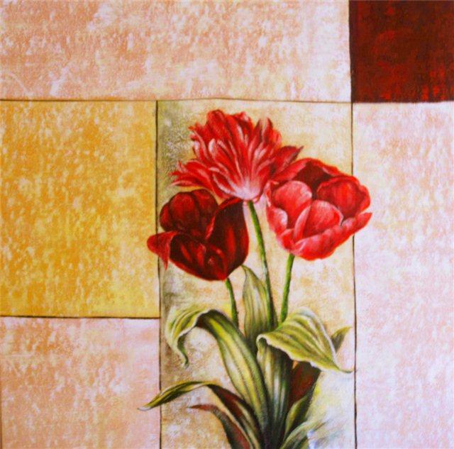 Schilderij met drie soorten rozen