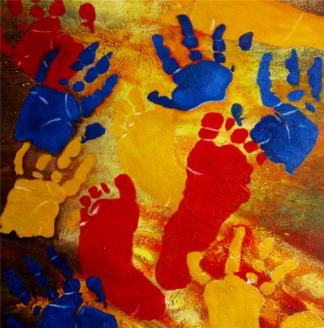 """Schilderij """"Hands and feet"""""""