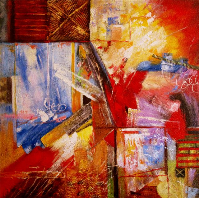 """Schilderij """"Red mess"""""""