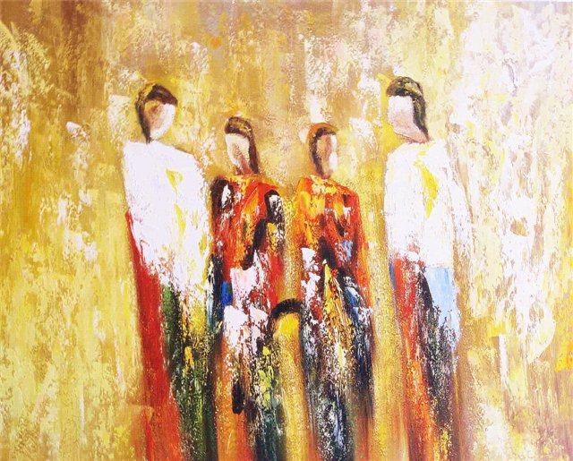 Abstract schilderij van vier staande figuren
