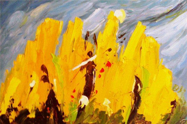 """Schilderij """"Yellow field"""""""