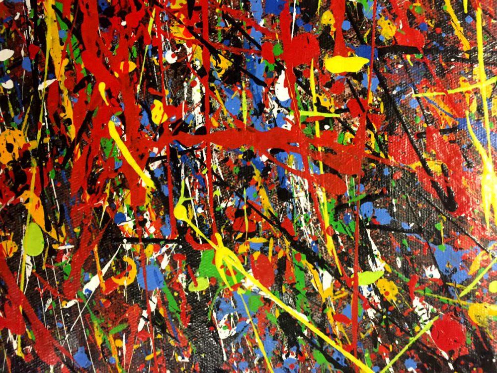 schilderij kleurrijk lijnenspel close-up