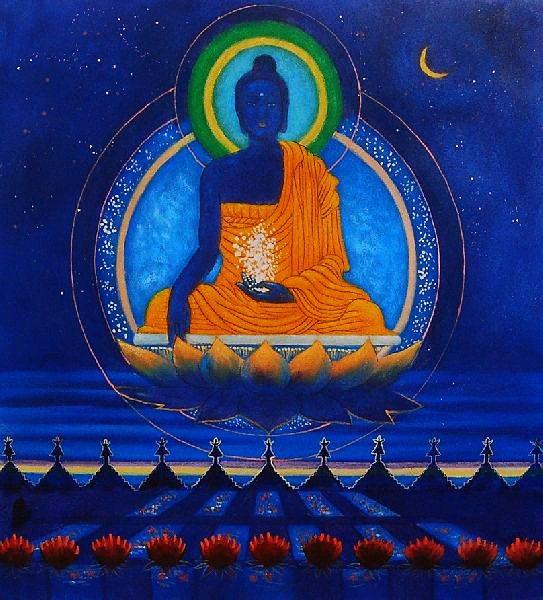 Schilderij van een blauwe buddha