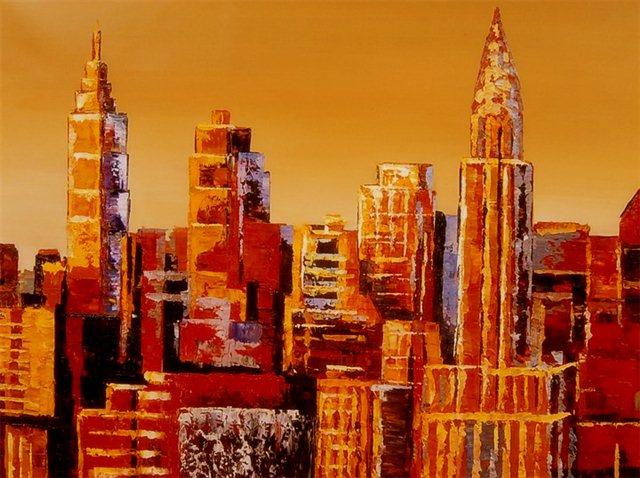"""Schilderij """"Abstracte skyline"""""""