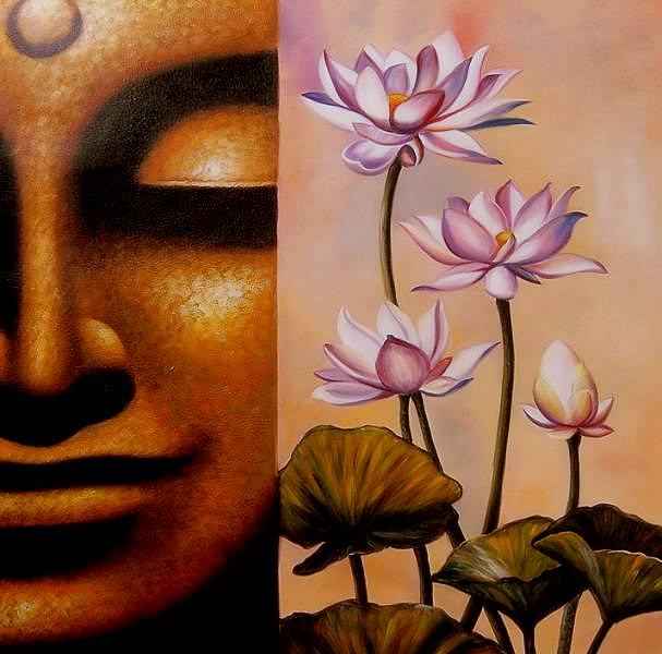 """Schilderij """"Buddha 50/50"""""""