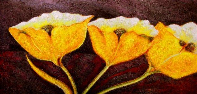 Schilderij van drie bloemen
