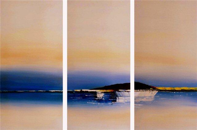 """Schilderij """"Drieluik bootjes op zee"""""""