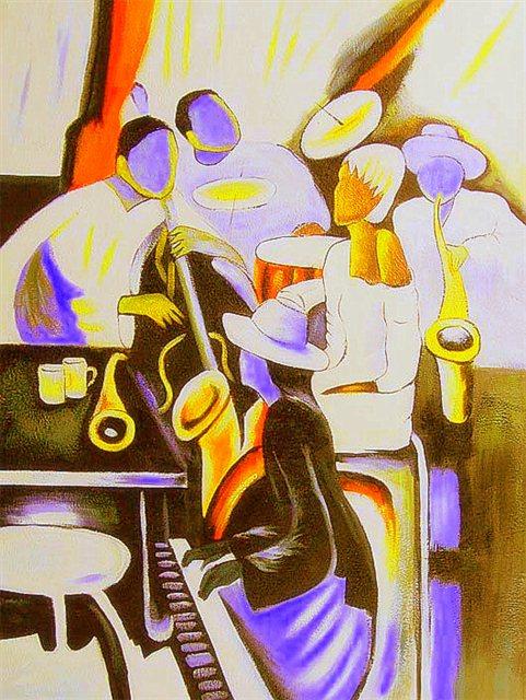 Kleurrijke jazzband