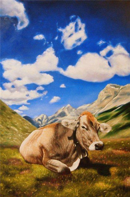 Milka koe in de bergen