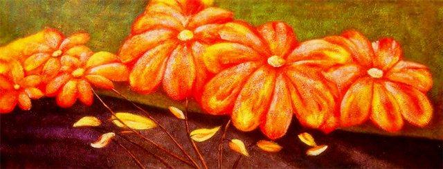 """Schilderij """"Tropische oranje bloemen"""""""