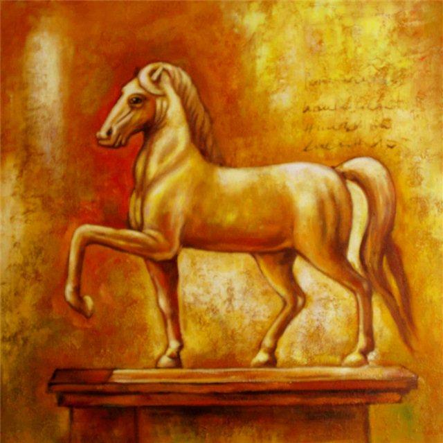 Schilderij paard bonfire