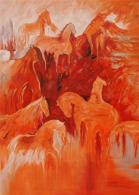 """Schilderij """"Paarden in silhouette"""""""