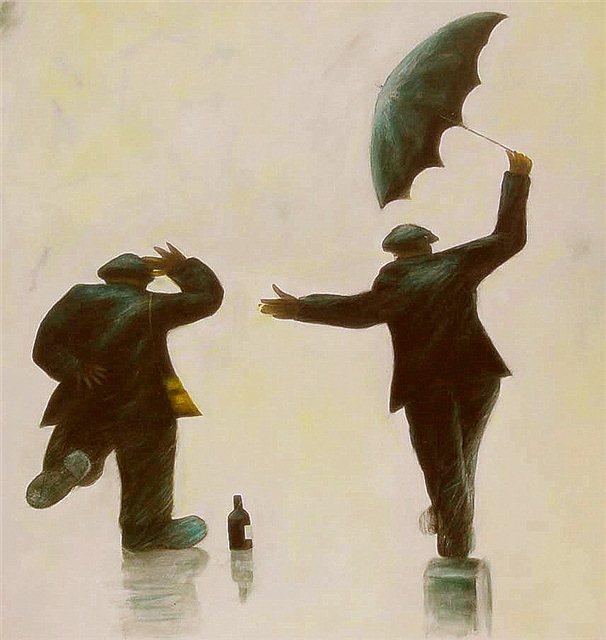 Mannen in de regen