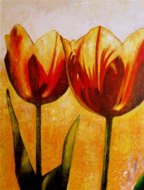 """Schilderij """"Twee oranje tulpen"""""""