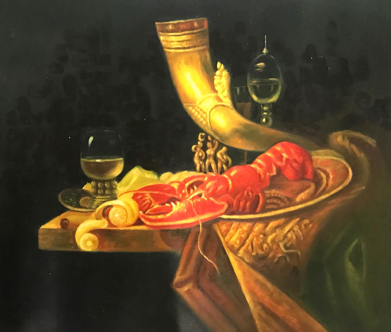 stilleven schilderij rode kreeft