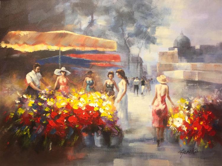 Bloemenmarkt nabij Reims