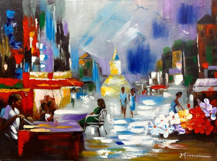 """Schilderij """"Terrasjes nabij Parijs"""""""