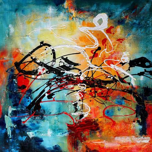 Abstract schilderij van een mooi lijnenspel