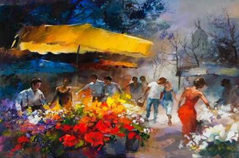 Bloemenmarkt nabij Parijs