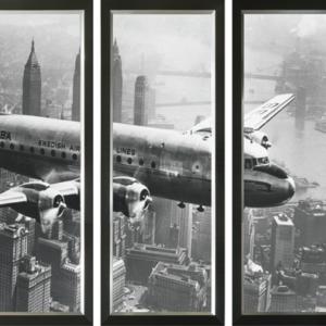 Drieluik klassiek vliegtuig boven New York (groot)