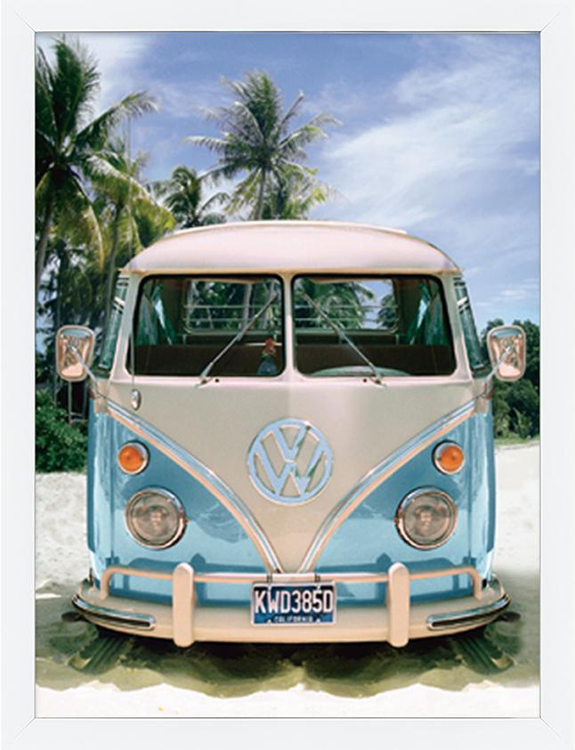 """Ingelijste poster """"VW Busje frontaal"""" van Mondiart"""