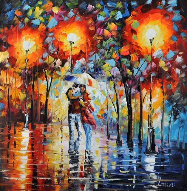 Palet schilderij avondwandeling kleurrijk stel
