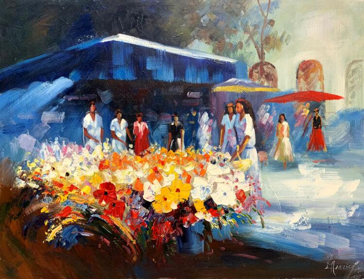 """Schilderij """"Bloemenmarkt in Reims"""""""