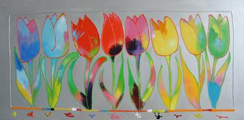 """Schilderij """"Ad Verstijnen – Alle tulpen op een rij"""""""