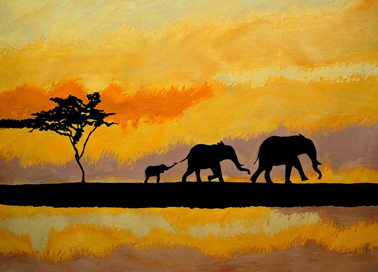 Schilderij van drie olifanten