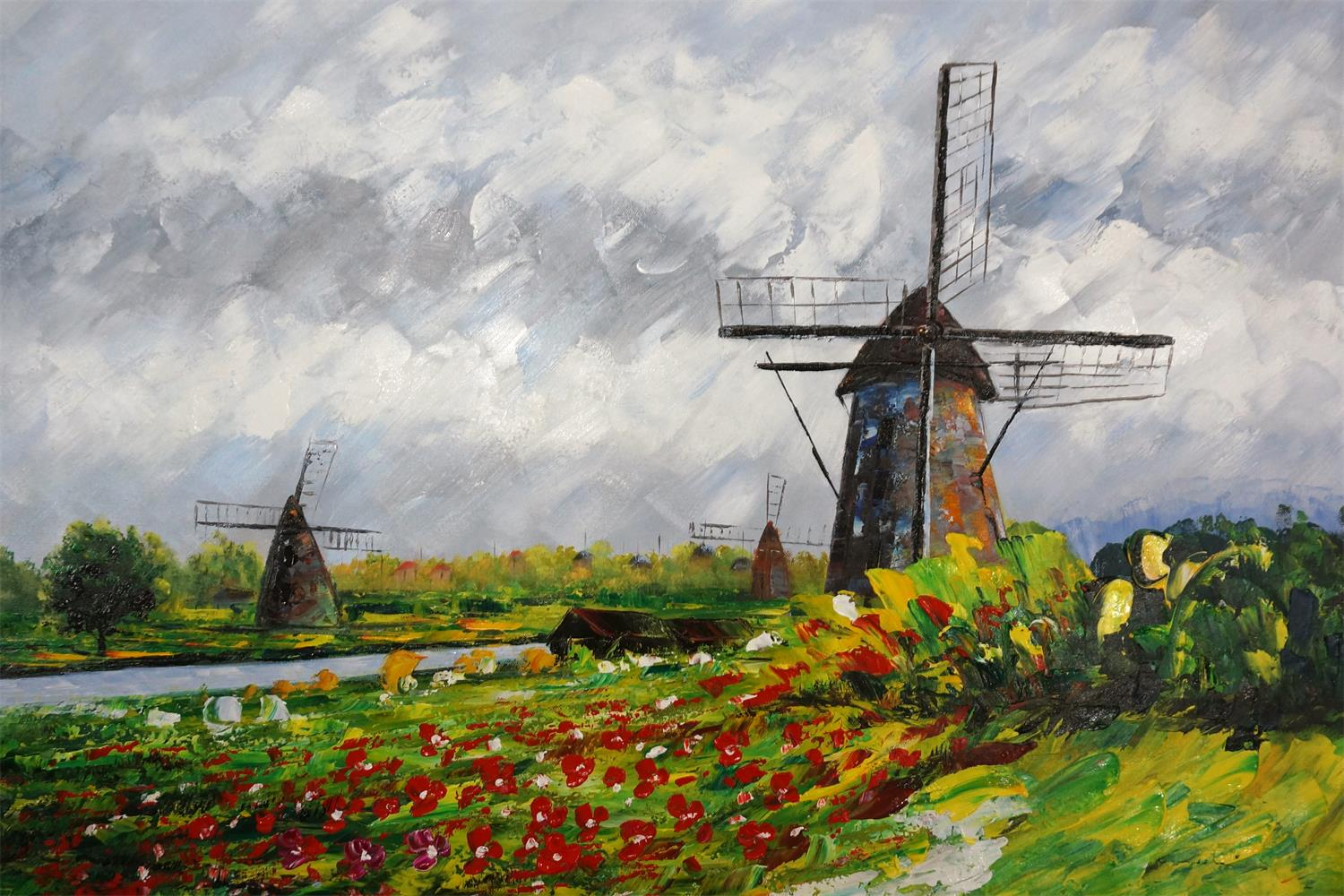 schilderij molens in hollands landschap