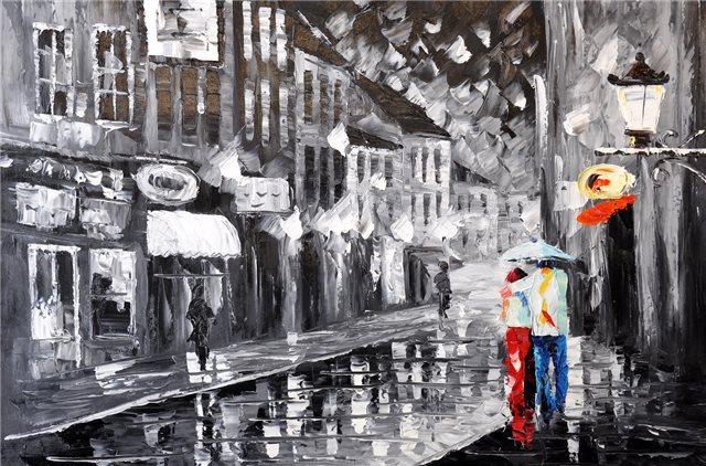 """Schilderij """"Regenachtige avond"""""""