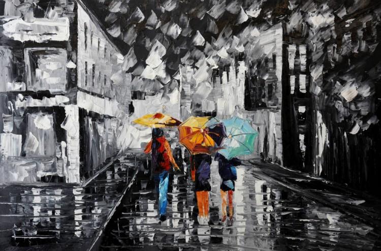 """Schilderij """"Regenachtige avondwandeling"""""""