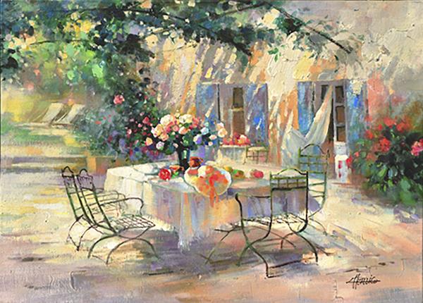 Schilderij van een romantische tuintafel