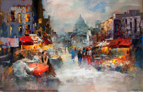 "Schilderij ""Terrasjes in Parijs"""