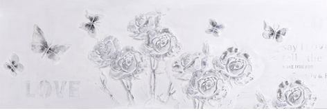 """Schilderij """"Zilver-witte rozen"""""""