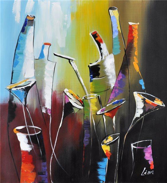 Schilderij van allerlei kruiken en glazen