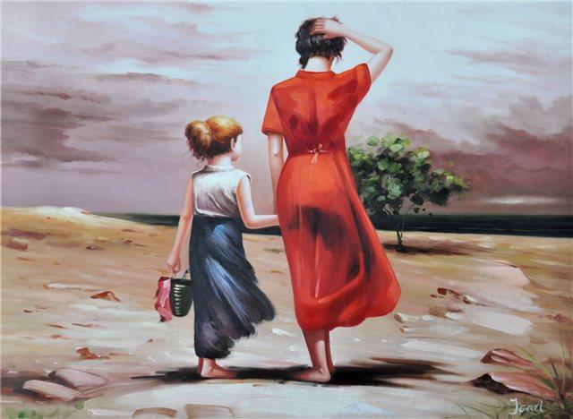 Duinwandeling moeder en dochter