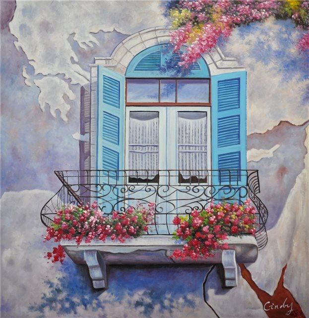 """Schilderij """"Klassiek balkon"""""""