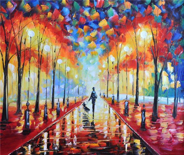 Schilderij van een kleurrijke avondwandeling