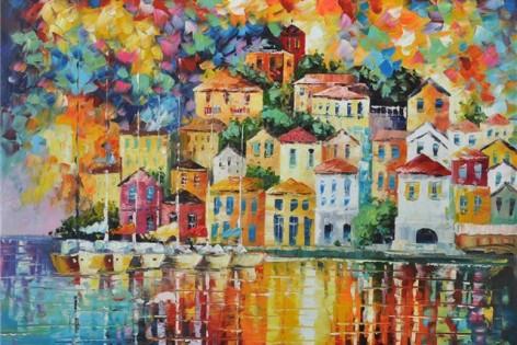 Schilderij van kleurrijke huisjes aan zee