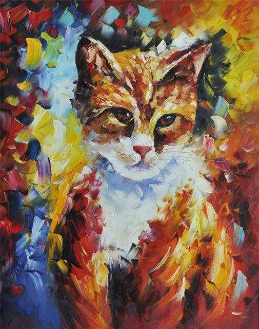 """Schilderij """"Kleurrijke poes"""""""