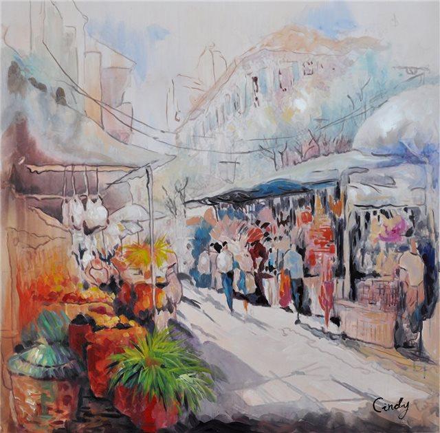 Schilderij van markt in Istanboel