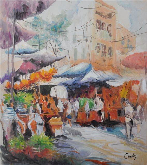 "Schilderij ""Markt in Porto"""