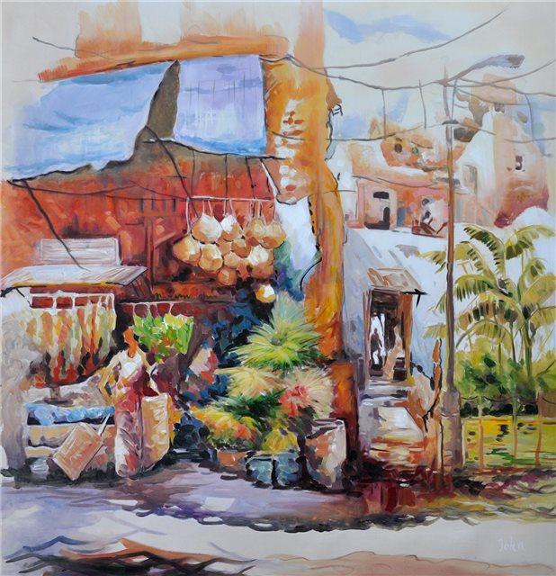 """Schilderij """"Marktkraampje in Istanboel"""""""