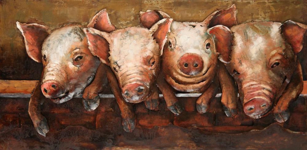 """Metalen schilderij """"Vier 4 biggen op een rij"""""""