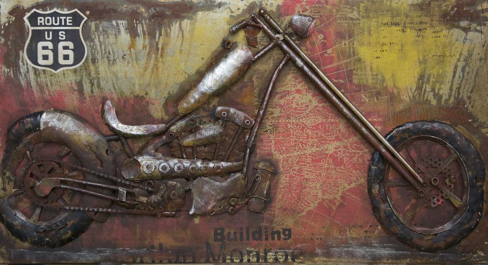 """Metalen 3D-schilderij """"Harley Davidson route66"""""""