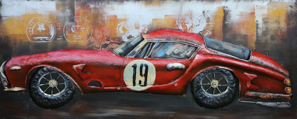 3d Schilderij Metaal.Klassieke Raceauto