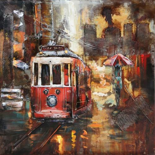 """Metalen schilderij """"Klassieke tram"""""""